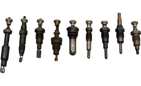 Glow plugs for pre-and later for afterglow - larger image (only historical development) by clicking!